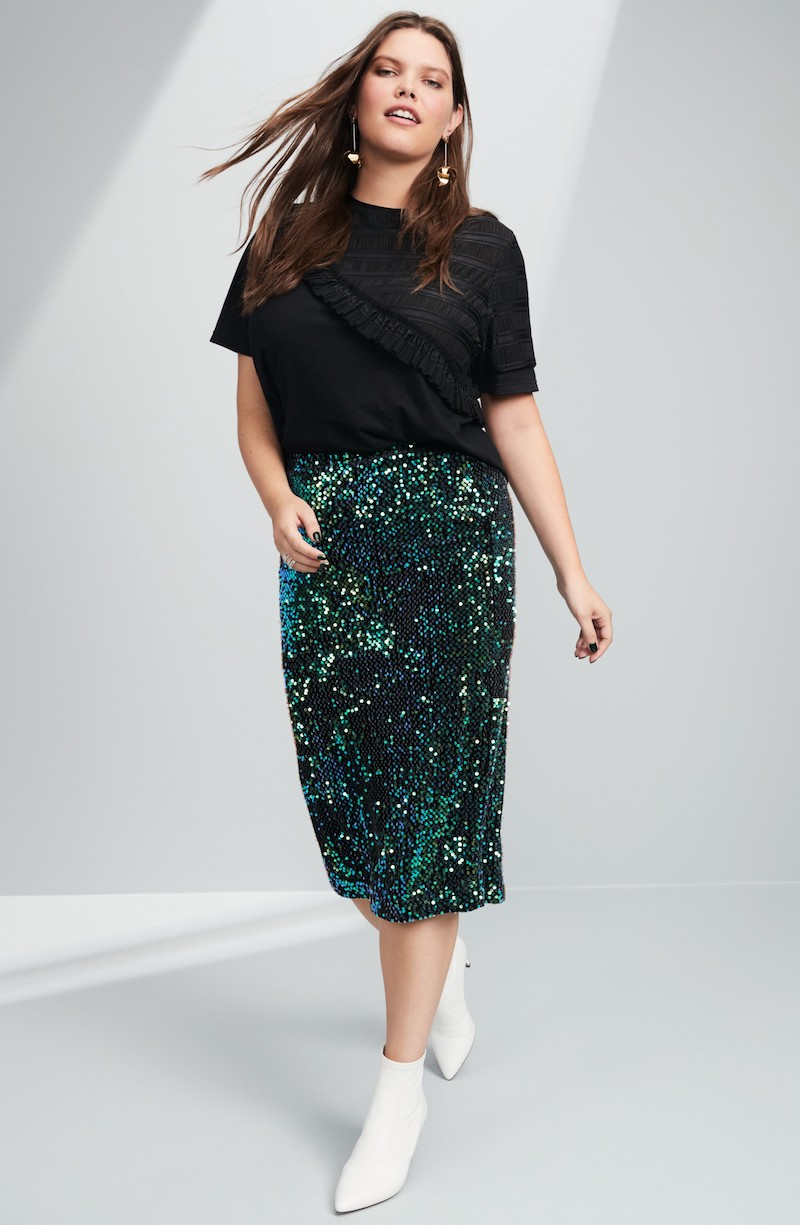 LOST INK Sequin Pencil Skirt