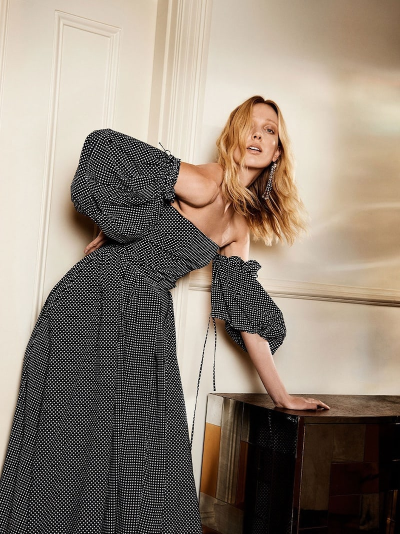 Loewe Off-The-Shoulder Polka-Dot Print Gown