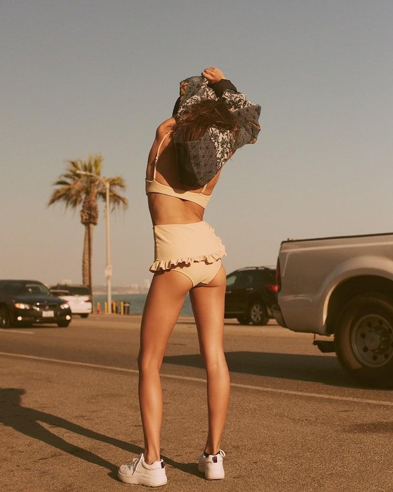 Made by Dawn Traveler Ruffle-Trimmed Bikini Top