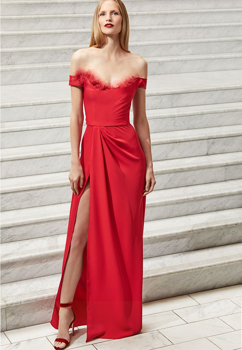 Marchesa Notte Off-the-Shoulder Crepe High-Slit Gown