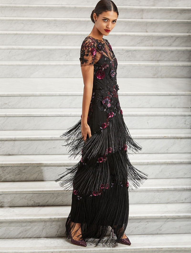 Marchesa Notte Short-Sleeve Illusion Fringe Column Gown