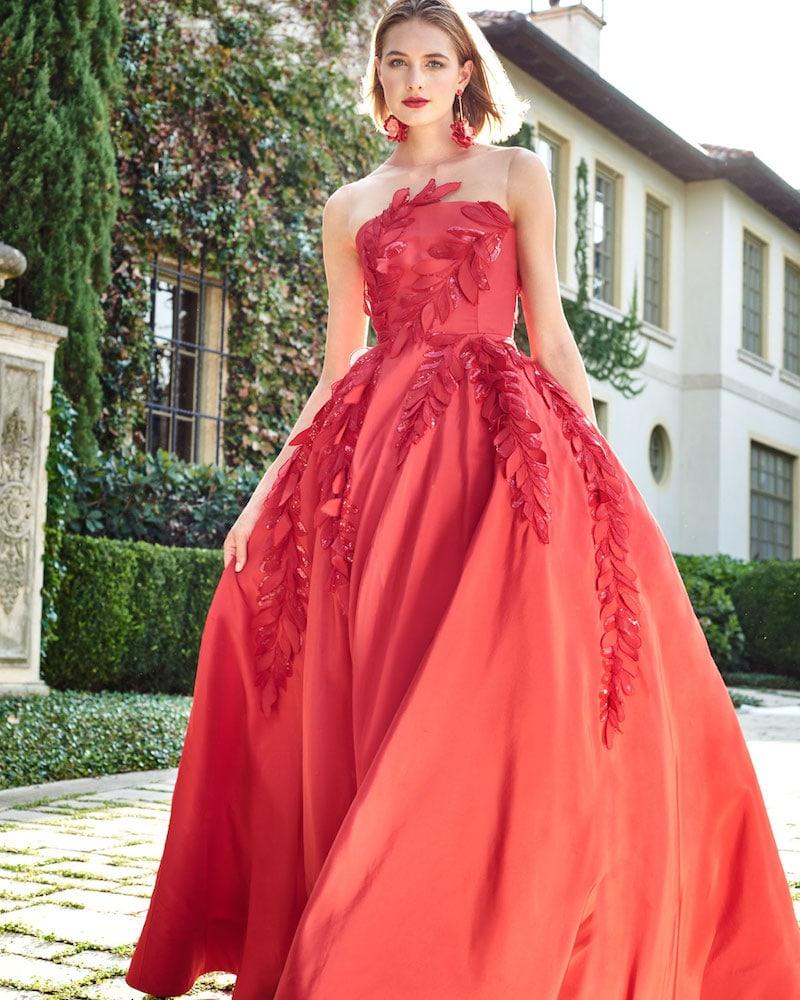 Oscar de la Renta Sleeveless Illusion-Neck Evening Ball Gown with Floral Appliques