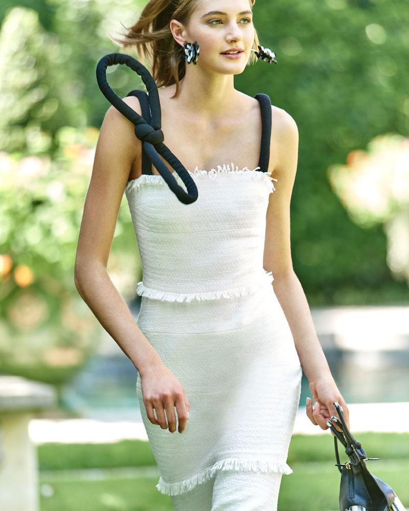 Oscar de la Renta Square-Neck Fitted Tweed Cocktail Dress with Velvet Bow-Straps