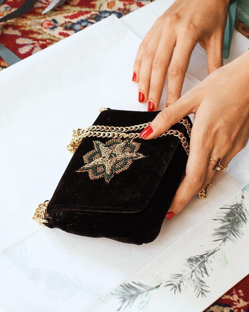 & Other Stories Bead Velvet Bag