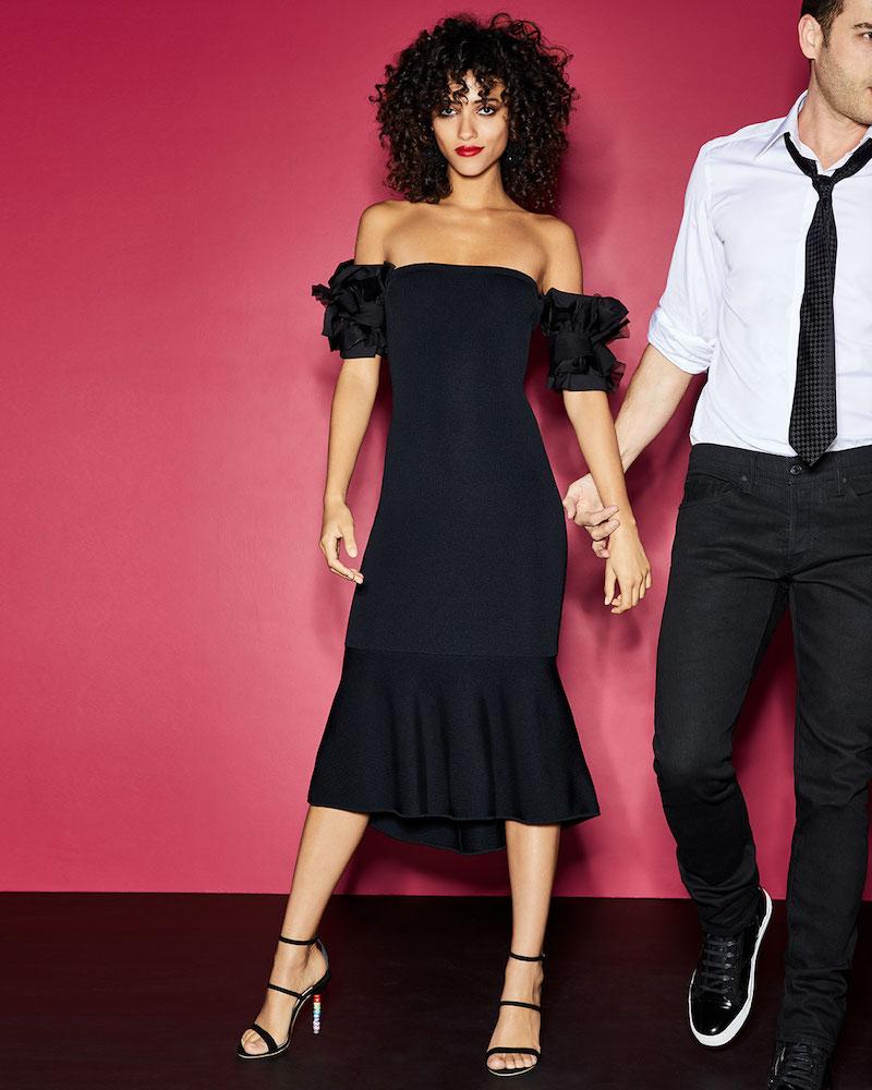 Sachin & Babi Meksin Flared Ruffle Short-Sleeve Knit Cocktail Dress