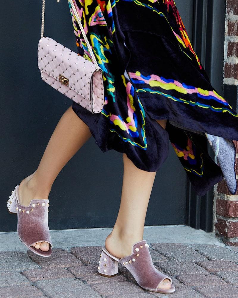 Stuart Weitzman Dohickey Embellished Velvet Mule Sandal