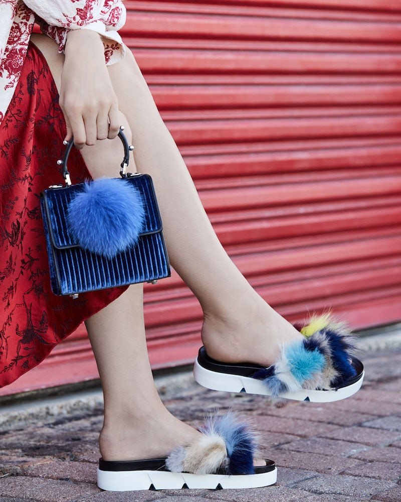 Stuart Weitzman Sublime Flat Fox Fur Slide Sandal
