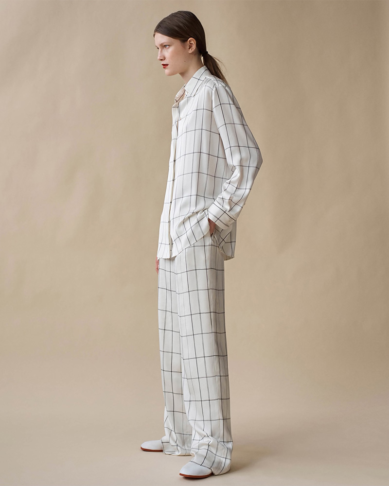 The Row Wendel Checked Silk Tapered Pants