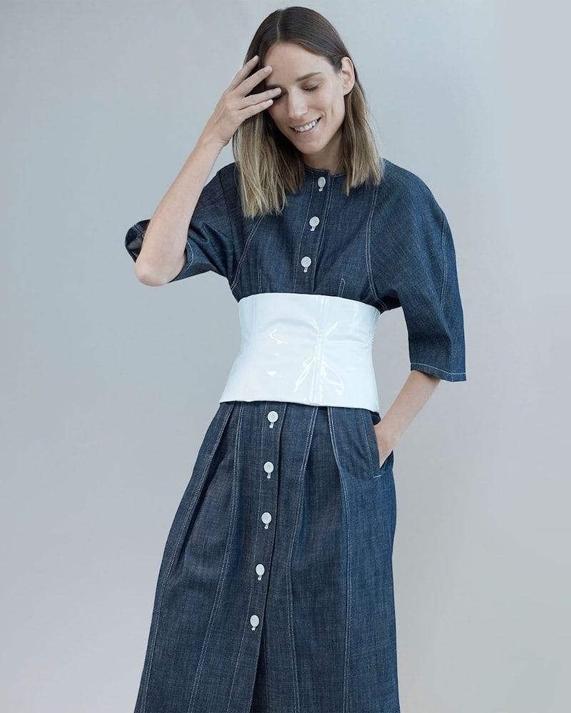 Tibi Cocoon-Sleeved Button-Down Denim Dress