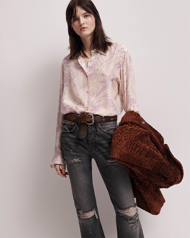 ADAPTATION Distressed Wide-Leg Crop Jeans