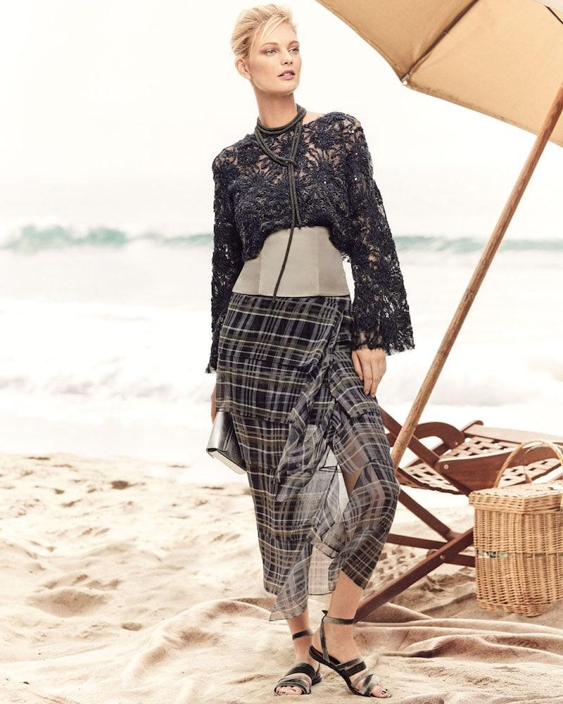 Brunello Cucinelli Silk Plaid Ruffle Skirt