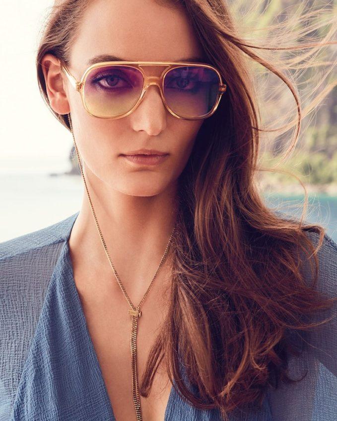 Chloe Oversized Plastic Square Pilot Sunglasses