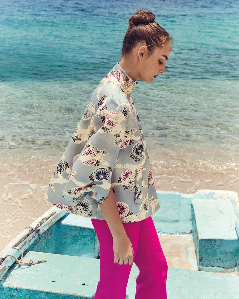 Co Floral-Print Mandarin-Collar Topper