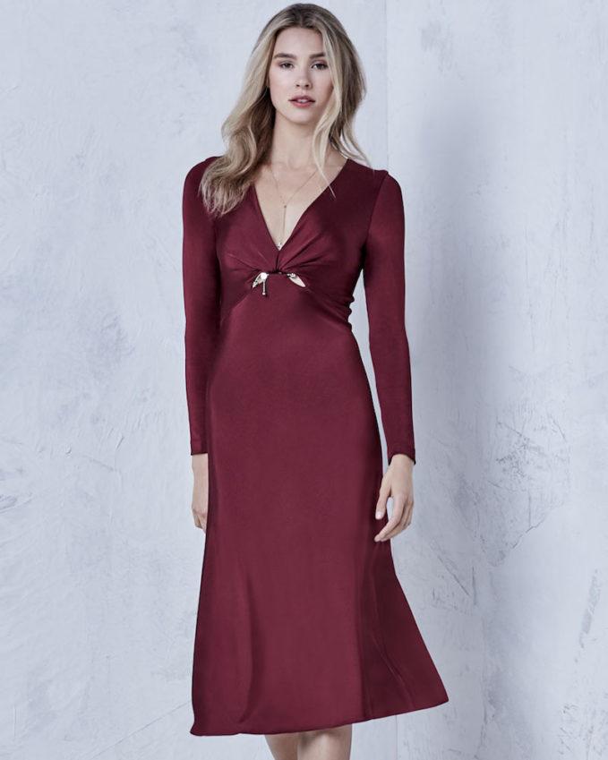 Cushnie et Ochs Magdelena V-Neck Long-Sleeve Fitted Glossy Midi Cocktail Dress 1