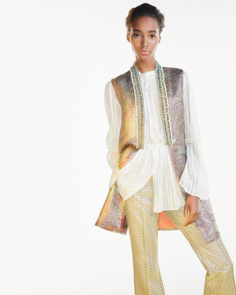Etro Beaded-Trim Long Metallic Vest
