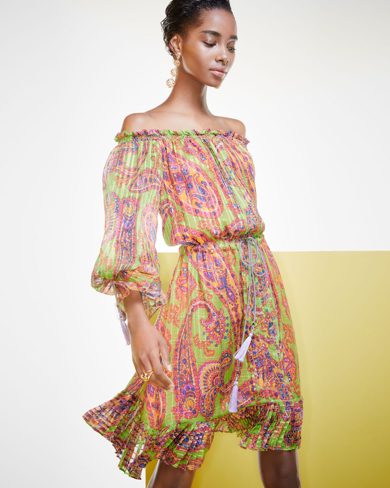 Etro Neon Psychedelic-Print Dress with Tassels
