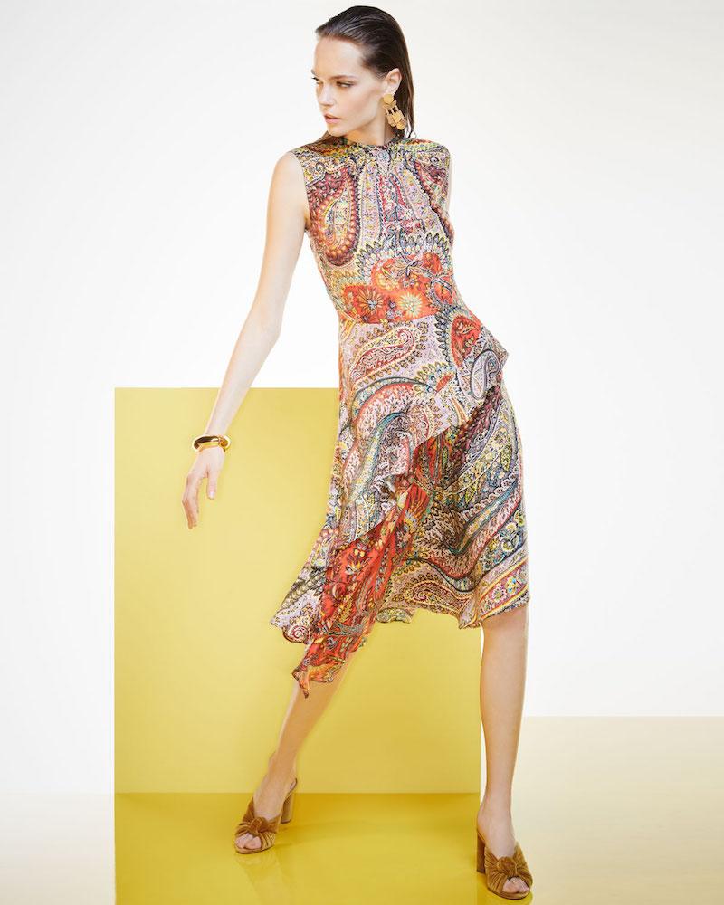 Etro Shirred-Neck Paisley-Print Dress