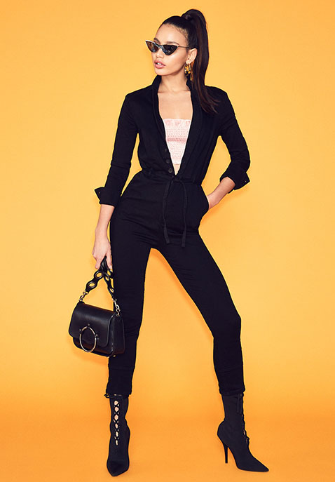 Free People Take Me Out Fitted Jumpsuit