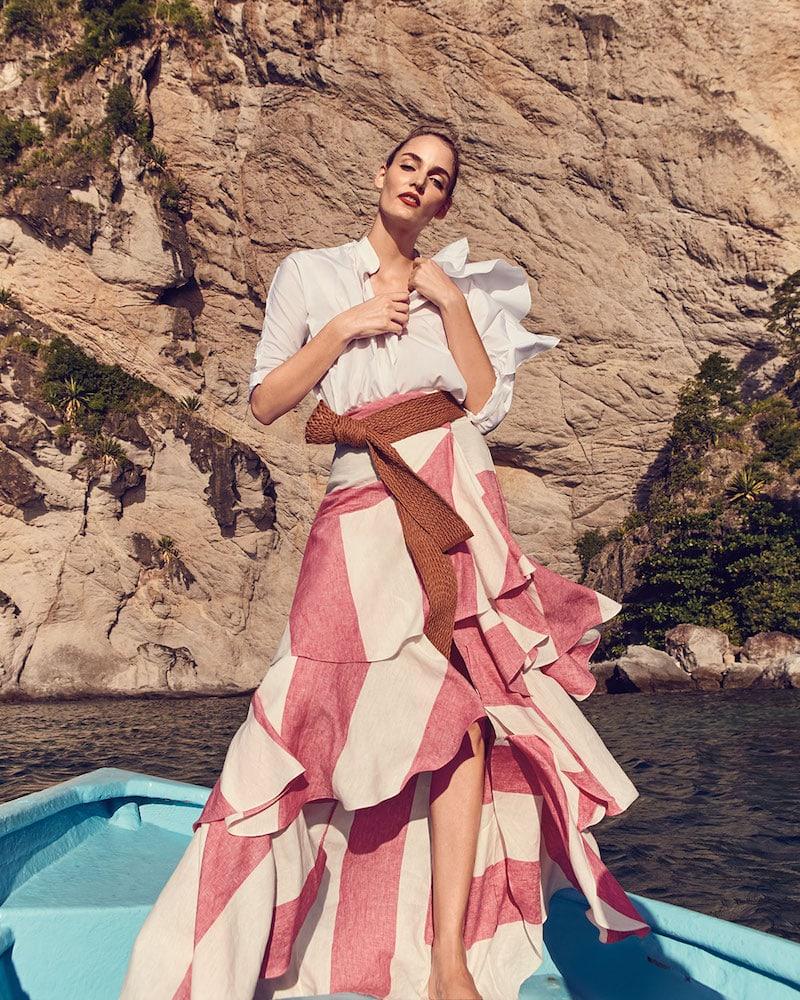 Johanna Ortiz Bandelier Ruffle-Sleeve Poplin Blouse Bodysuit