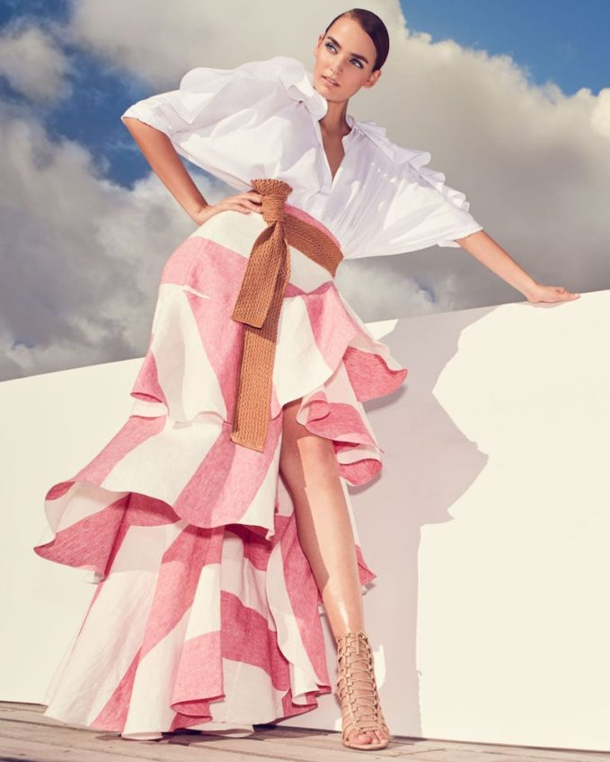 Johanna Ortiz Long Western Stripe Tiered Linen Skirt