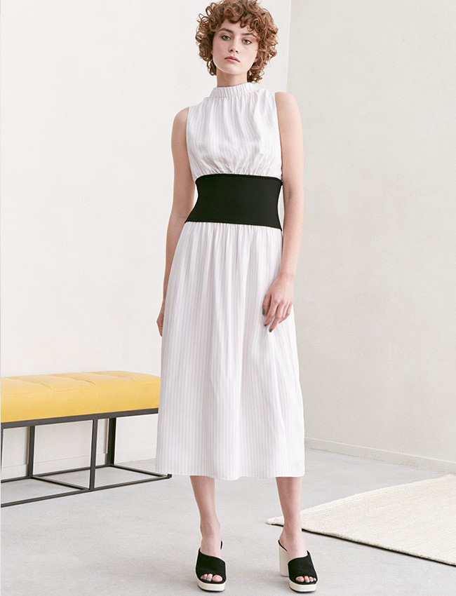 Lewit Knit Inset Stripe Midi Dress