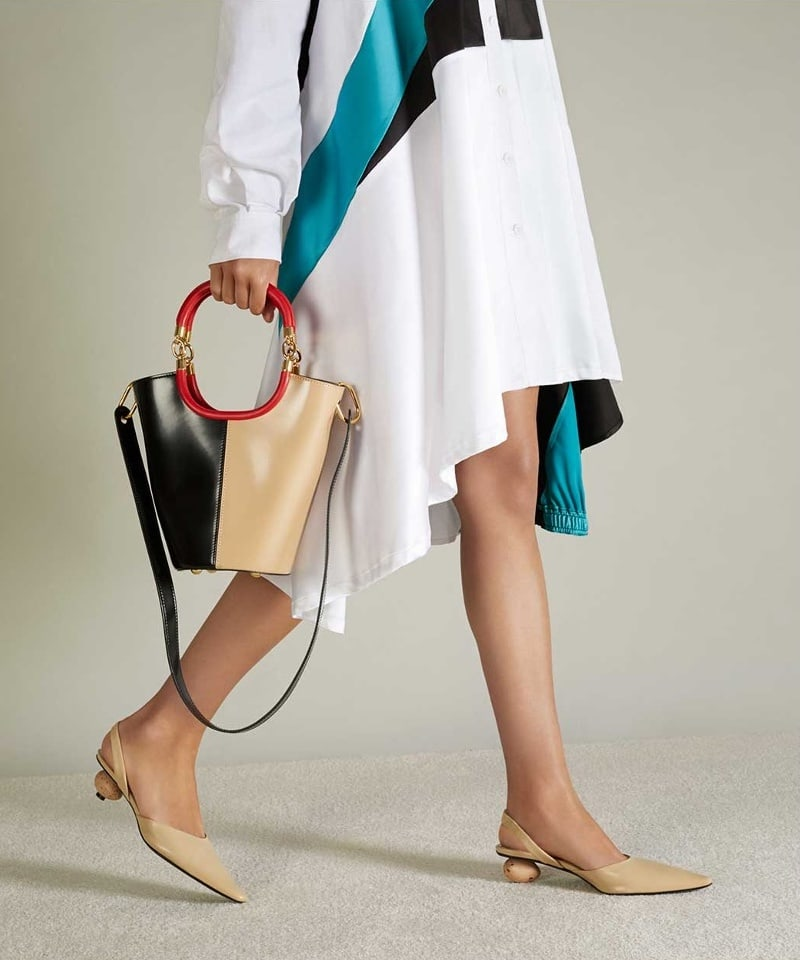 Loewe Egg-Heel Point-Toe Leather Slingback Pumps