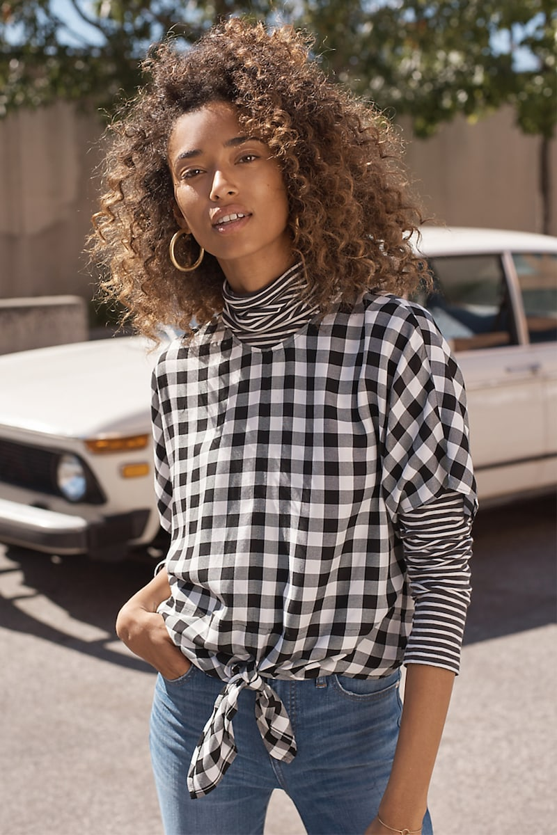 Madewell Button-Back Tie Tee in Buffalo Check