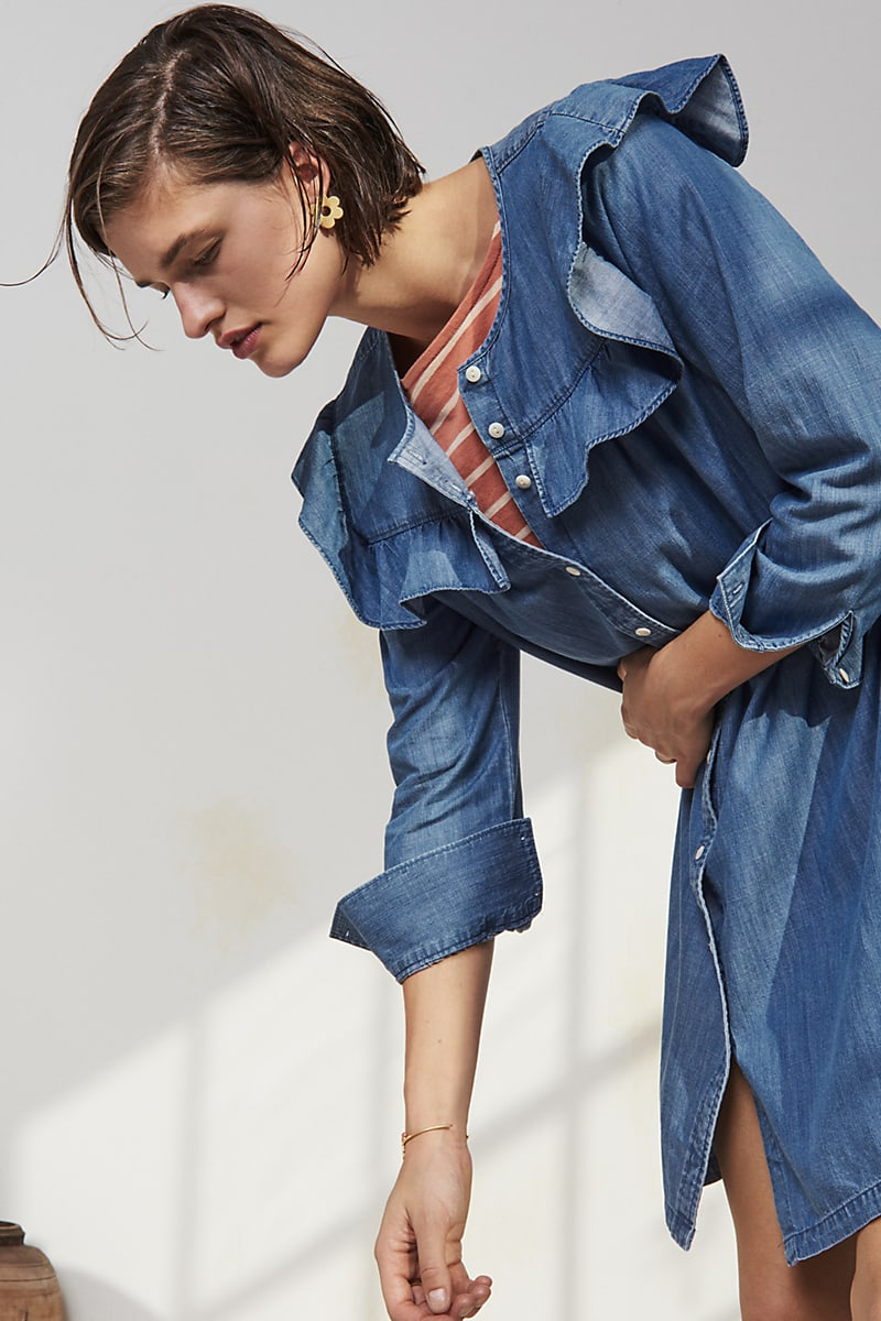 Madewell Chambray Ruffle-Yoke Shirtdress