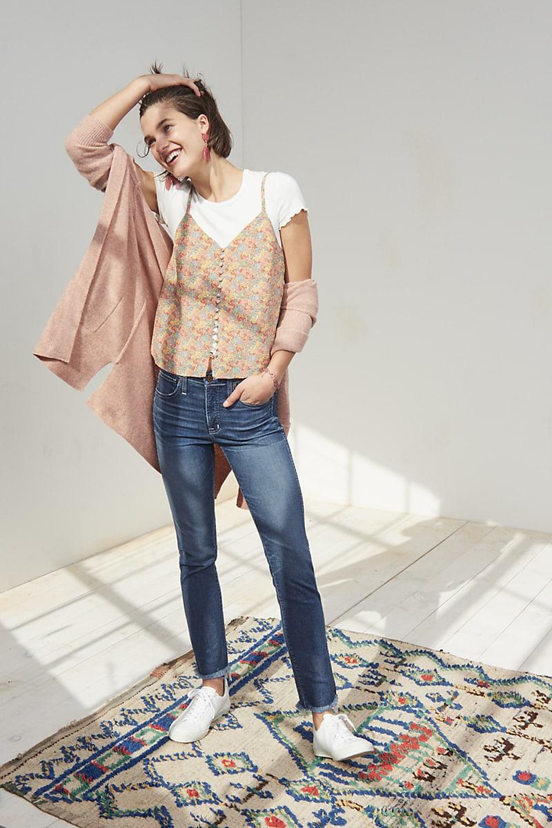 Madewell Silk Button-Down Cami In Prairie Blossoms