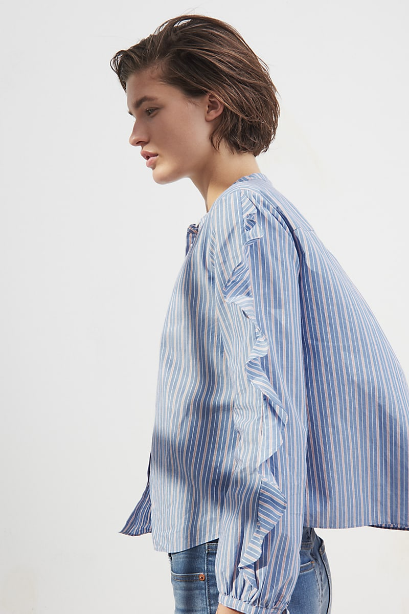 Madewell Striped Frill-Sleeve Shirt