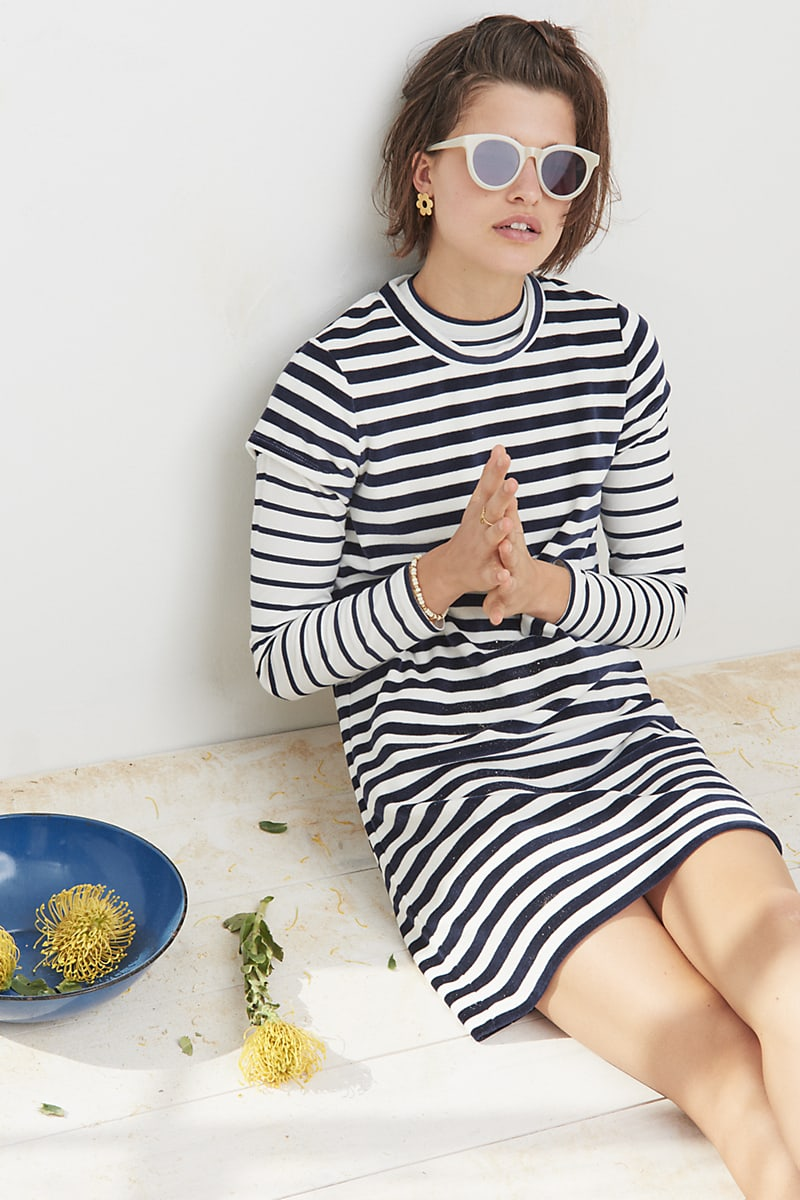 Madewell Striped Velour Tee Dress