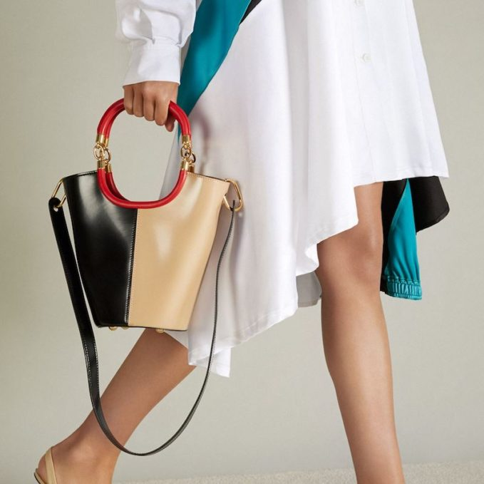 Marni Maili Tri-Colour Leather Bucket Bag