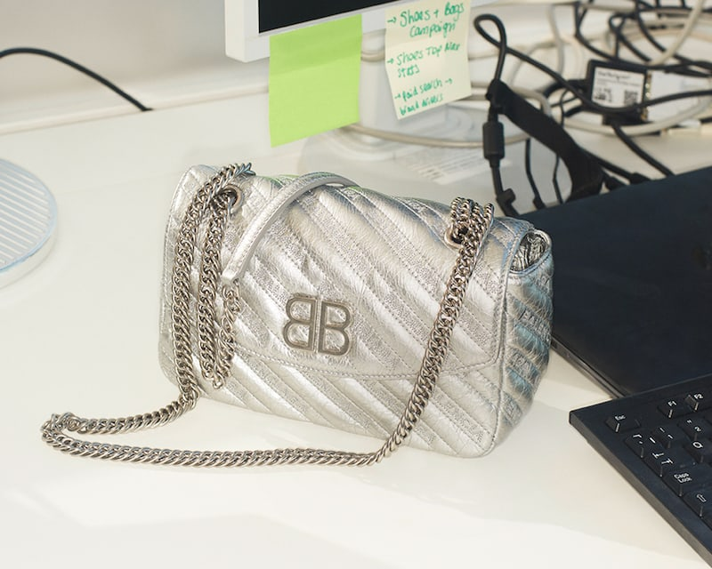 NET-A-PORTER Exclusive Balenciaga BB Round Embroidered Quilted Metallic Textured-Leather Shoulder Bag