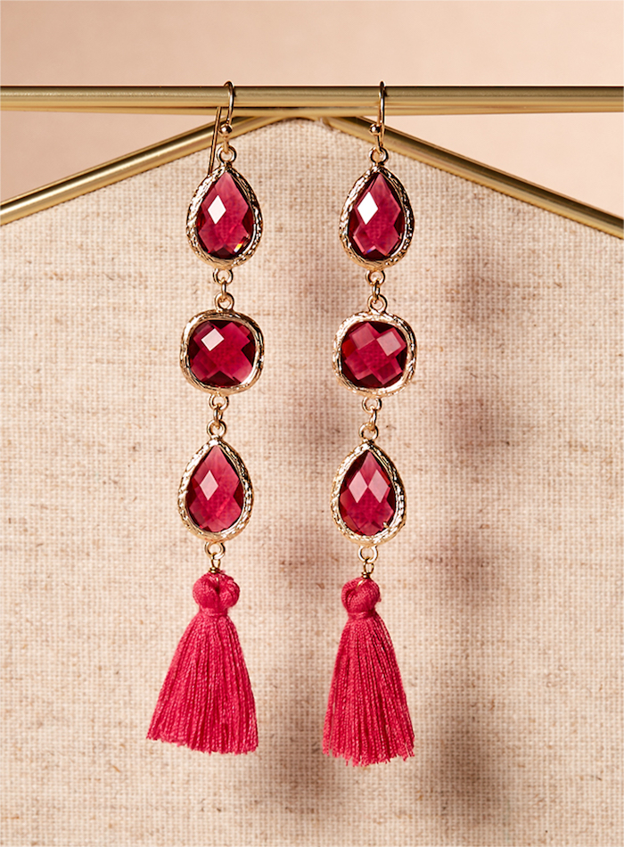Panacea Fuschia Crystal Tassel Drop Earrings