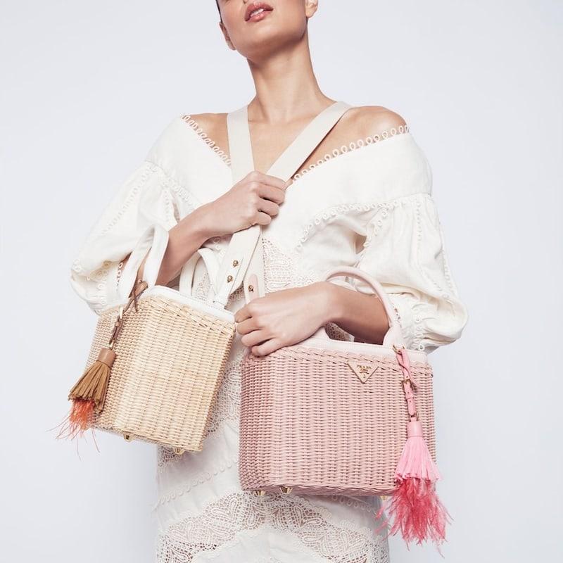 Prada Feather-Embellished Raffia Basket Bag