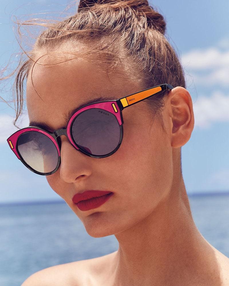 Prada Round Colorblock Mirrored Sunglasses