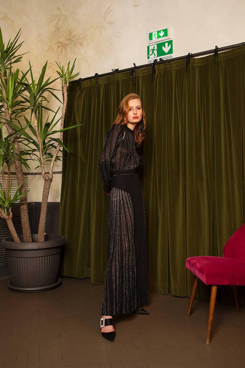 Roberto Cavalli Plisse Lurex Knit Dress