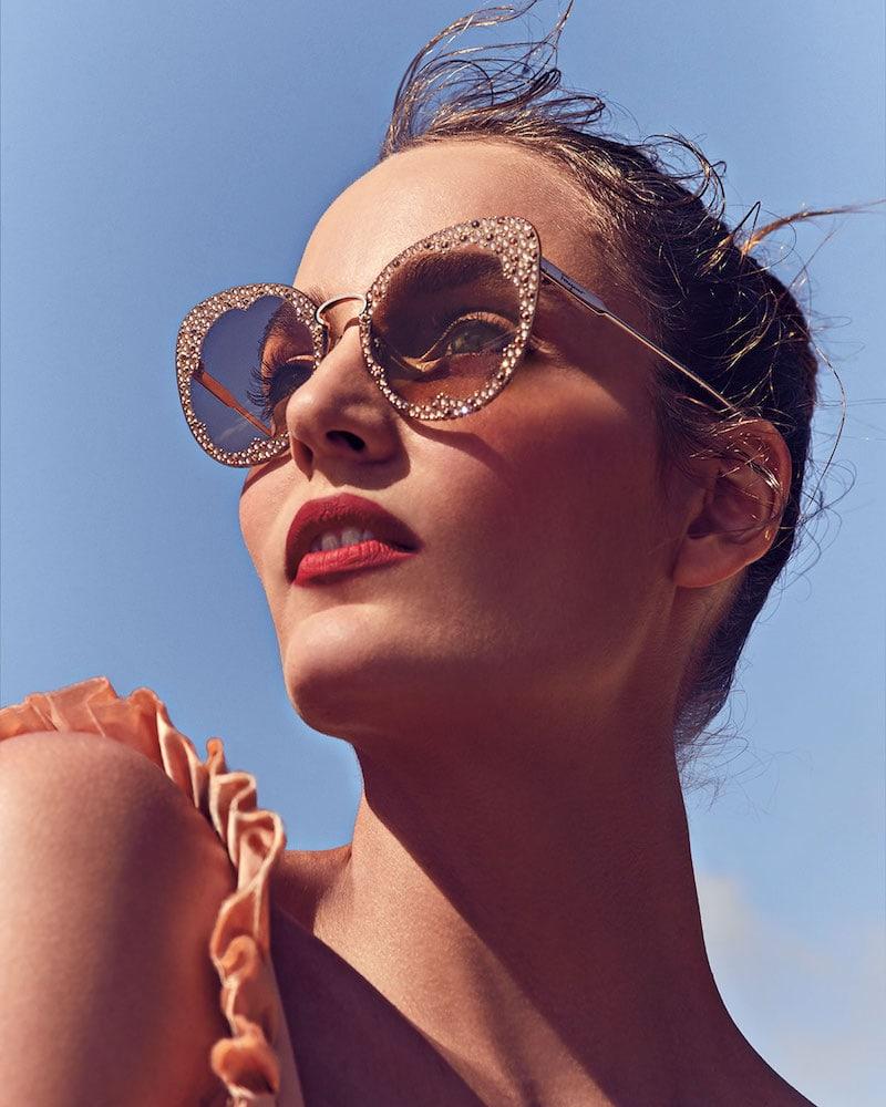 Salvatore Ferragamo Fiore Rimless Cat-Eye Sunglasses with Crystal Embellishment