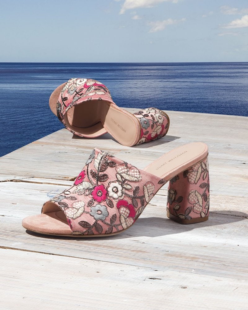 Stuart Weitzman Onevase Floral-Embroidered Mule Sandal