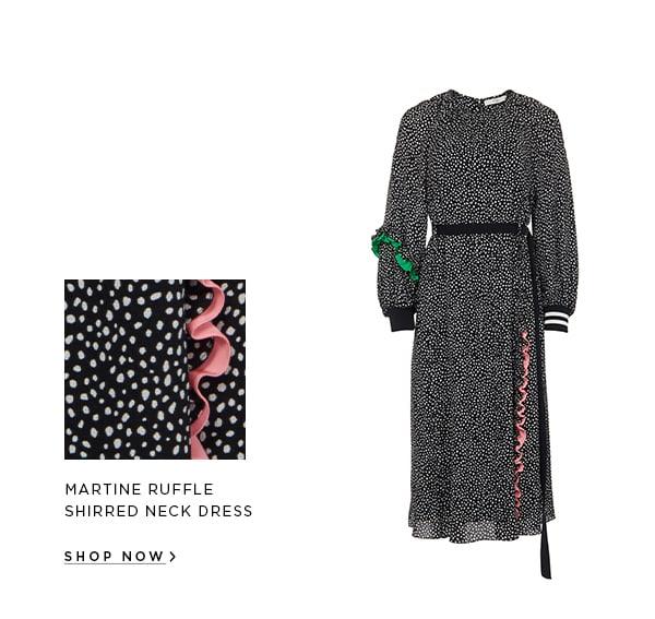 Martine Ruffle Shirred Neck Dress