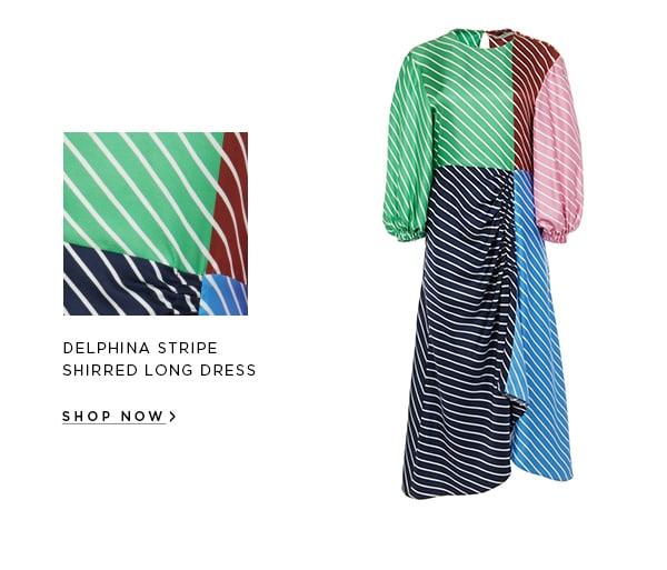 Delphina Stripe Shirred Long Dress