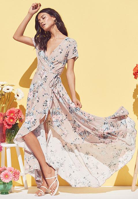 AUGUSTE Scarlett Wrap Maxi Dress