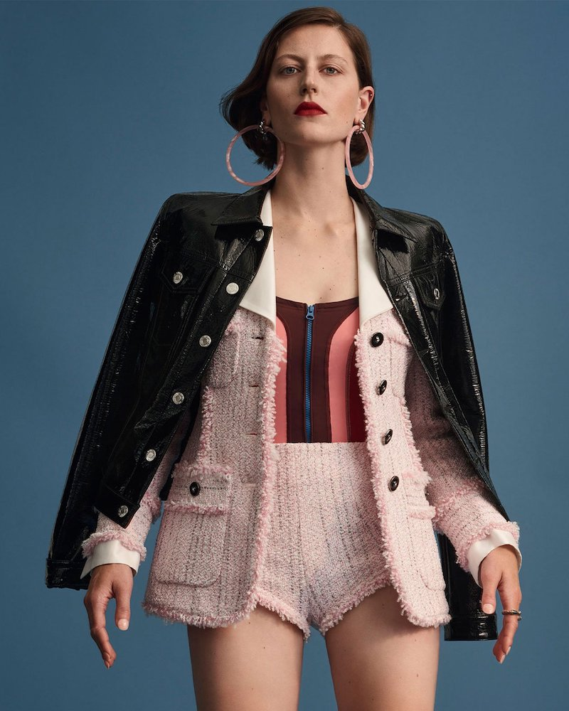 Alessandra Rich Tweed Contrast-Collar Jacket