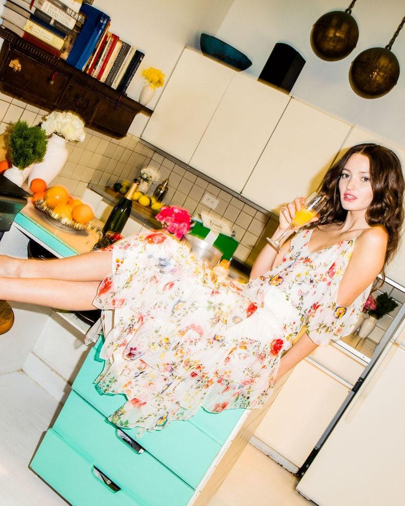 Alice + Olivia Paulina Asymmetric Floral-Print Silk Ruffle Tank