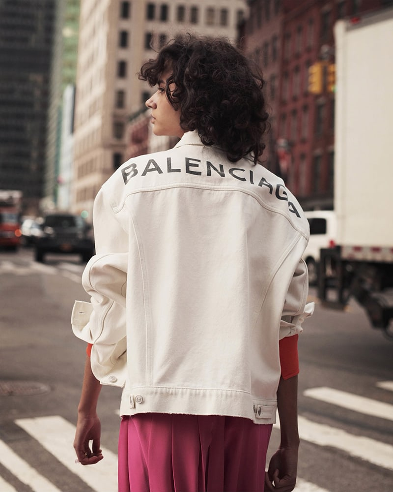 Balenciaga Logo Cotton Denim Jacket