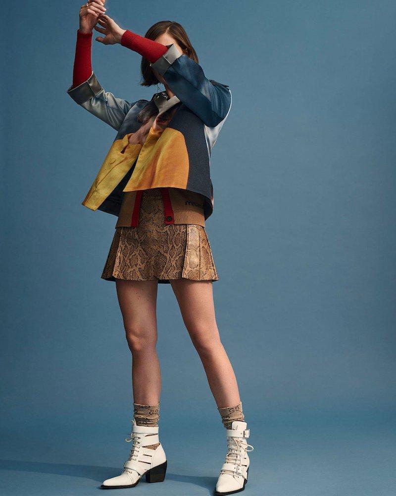 Chloé Python-Print Mini Skirt