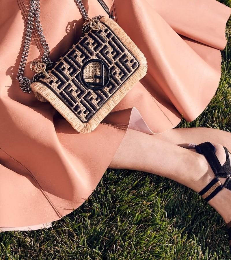Fendi Small Kan I Chain Strap Raffia Bag