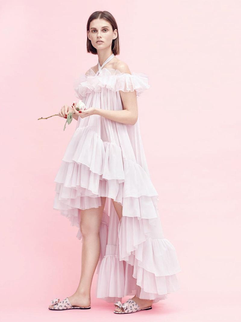 Giambattista Valli Off-the-Shoulder HIgh-Low Ruffle Dress