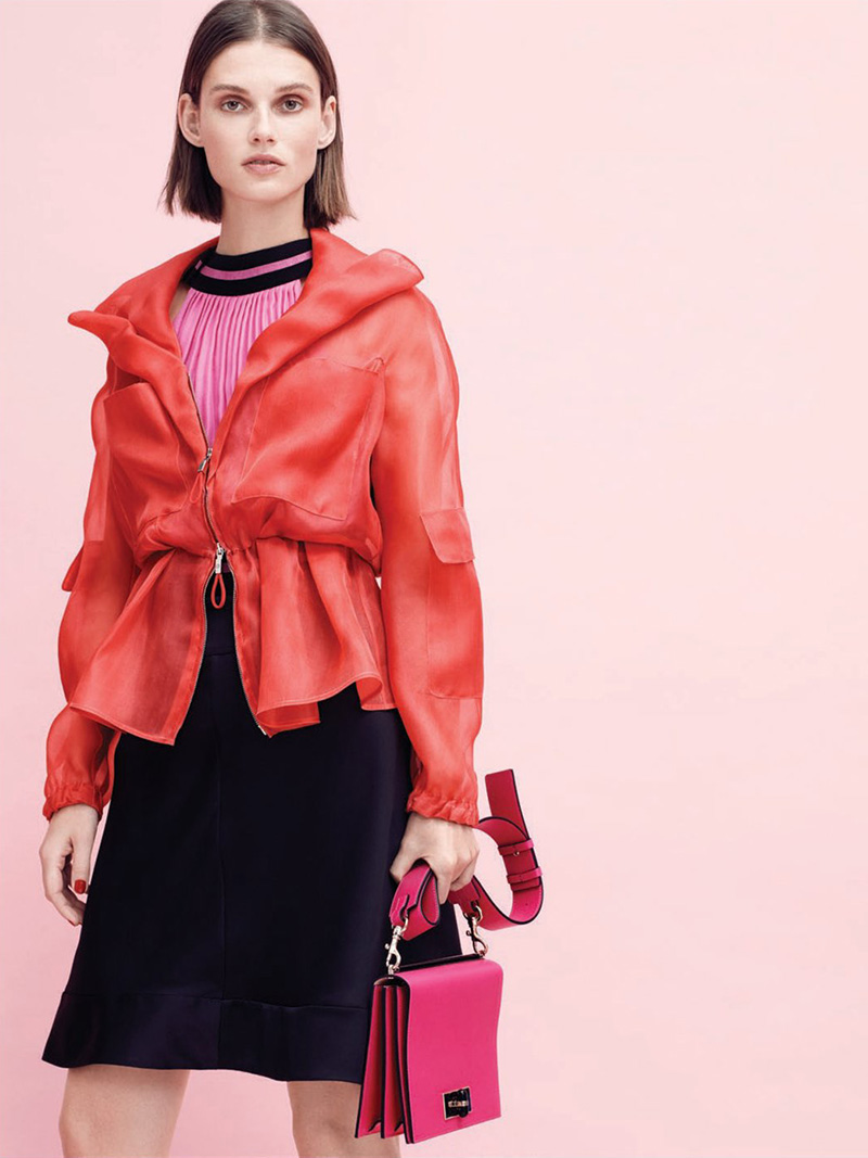 Giorgio Armani Red Silk Jacket with Cinched Waist