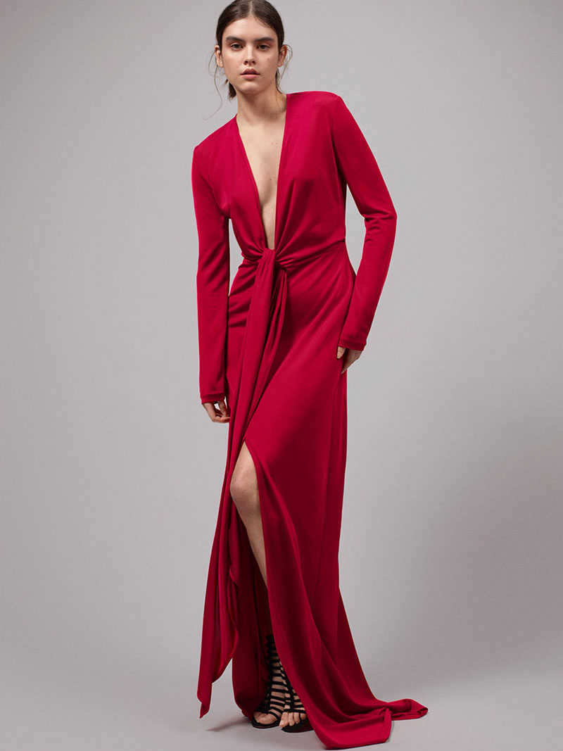 Givenchy Tie-Front Jersey Gown